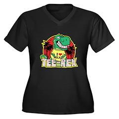 Tee Rex Women's Plus Size V-Neck Dark T-Shirt