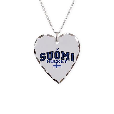 Finland(Suomi) Hockey Necklace Heart Charm