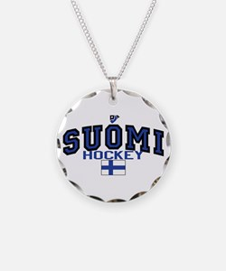 Finland(Suomi) Hockey Necklace Circle Charm