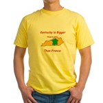 Kentucky is Bigger than France Yellow T-Shirt