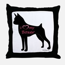 Heart My Boxer Throw Pillow