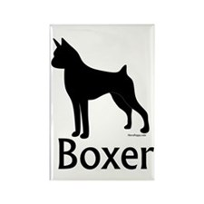 Boxer Silhouette Rectangle Magnet