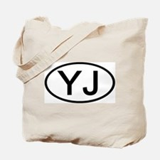YJ - Initial Oval Tote Bag