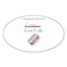 Cheer up Emo Kid Oval Decal