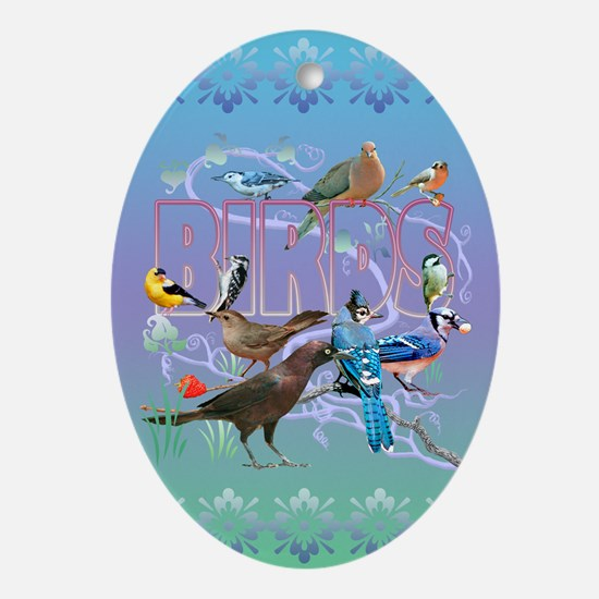 Bird Friends Ornament (Oval)