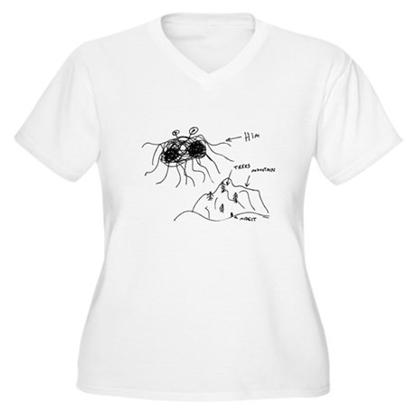 Original Drawing Women's Plus Size V-Neck T-Shirt