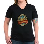 Pastafarian Seal Women's V-Neck Dark T-Shirt