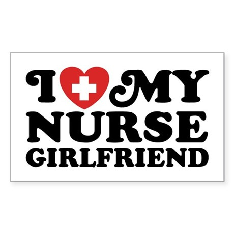 I Love My Nurse Girlfriend Sticker (Rectangle)