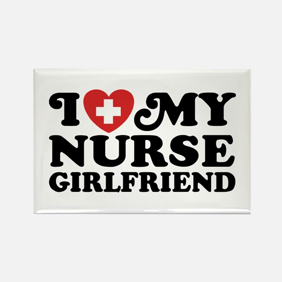 I Love My Nurse Girlfriend Rectangle Magnet