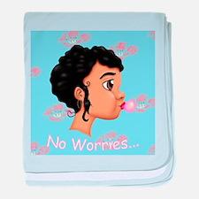 Bubble Gum Girl Floral No Worries baby blanket