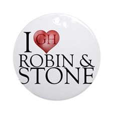 I Heart Robin & Stone Round Ornament