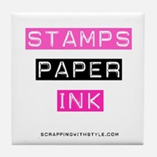 Stamps Paper Ink Tile Coaster