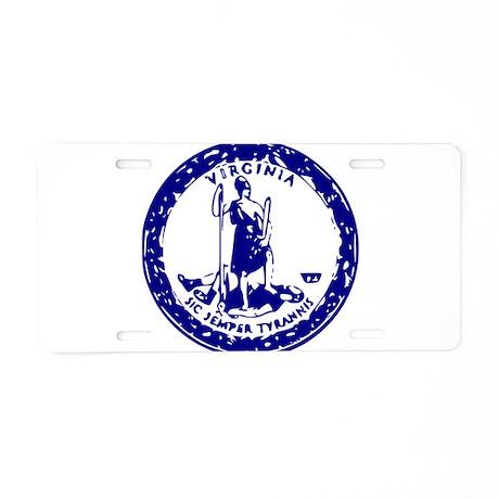 Blue Virginia Seal Aluminum License Plate