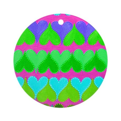 Floating Hearts Pink Ornament (Round)
