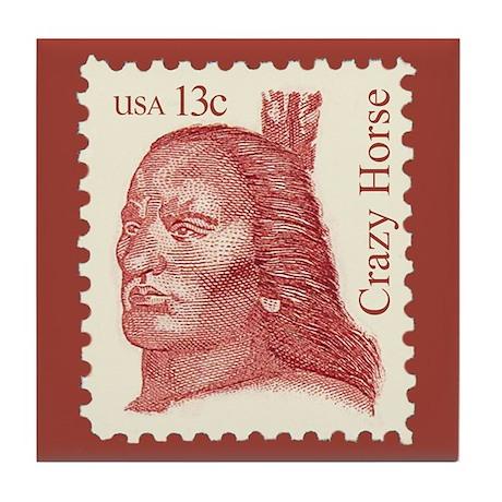 American Indian Chief Crazy Horse Art Tile Coaster