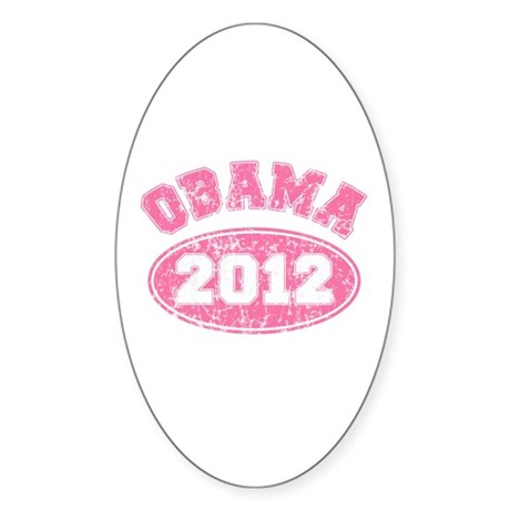 OBAMA 2012 Pink Faded Sticker (Oval 50 pk)