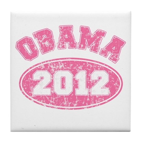 OBAMA 2012 Pink Faded Tile Coaster