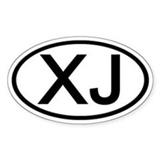 XJ - Initial Oval Oval Stickers