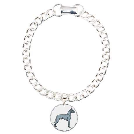Blue Dane Portrait Charm Bracelet, One Charm
