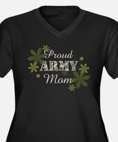 Proud Army Mom [fl] Women's Plus Size V-Neck Dark