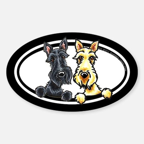 Black n Wheaten Scottie Sticker (Oval)