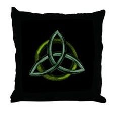 Triquetra Green Throw Pillow