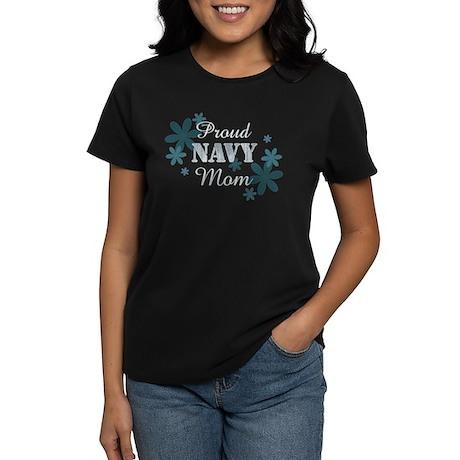 Proud Navy Mom [fl] Women's Dark T-Shirt