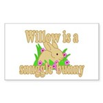 Willow is a Snuggle Bunny Sticker (Rectangle 50 pk