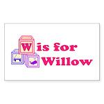 Baby Blocks Willow Sticker (Rectangle 10 pk)