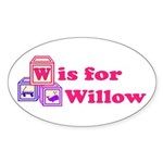 Baby Blocks Willow Sticker (Oval 10 pk)