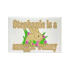 Stephanie is a Snuggle Bunny Rectangle Magnet
