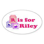 Baby Blocks Riley Sticker (Oval 50 pk)
