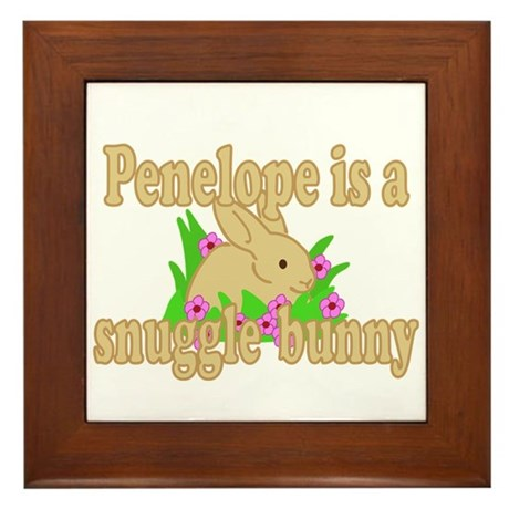 Penelope is a Snuggle Bunny Framed Tile