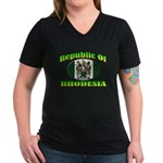 Republic of Rhodesia Women's V-Neck Dark T-Shirt