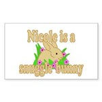 Nicole is a Snuggle Bunny Sticker (Rectangle 10 pk