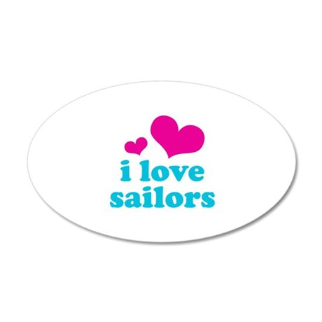 i love sailors (pink/blue) 22x14 Oval Wall Peel