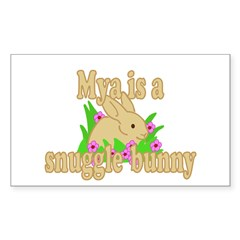 Mya is a Snuggle Bunny Sticker (Rectangle 50 pk)