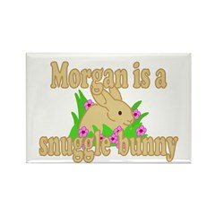 Morgan is a Snuggle Bunny Rectangle Magnet (100 pa
