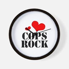 cops rock (red/black) Wall Clock