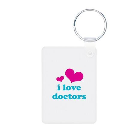 i love doctors (pink/blue) Aluminum Photo Keychain