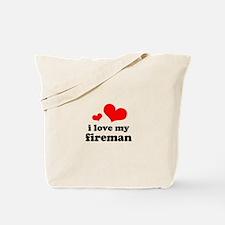 i love my fireman (red/black) Tote Bag