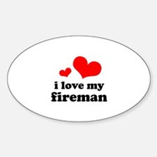 i love my fireman (red/black) Sticker (Oval)