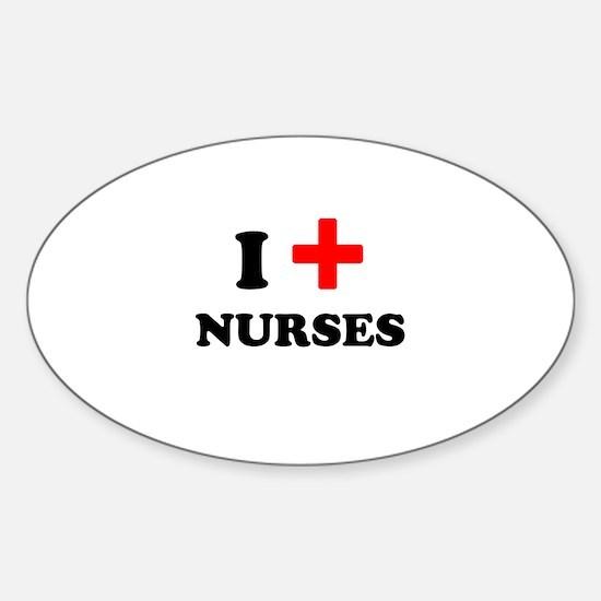 i heart nurses (red/black) Sticker (Oval)