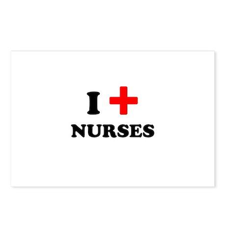 i heart nurses (red/black) Postcards (Package of 8