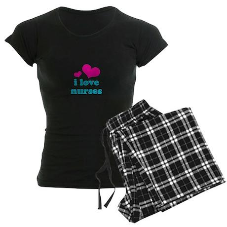 i love nurses (pink/blue) Women's Dark Pajamas