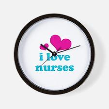 i love nurses (pink/blue) Wall Clock
