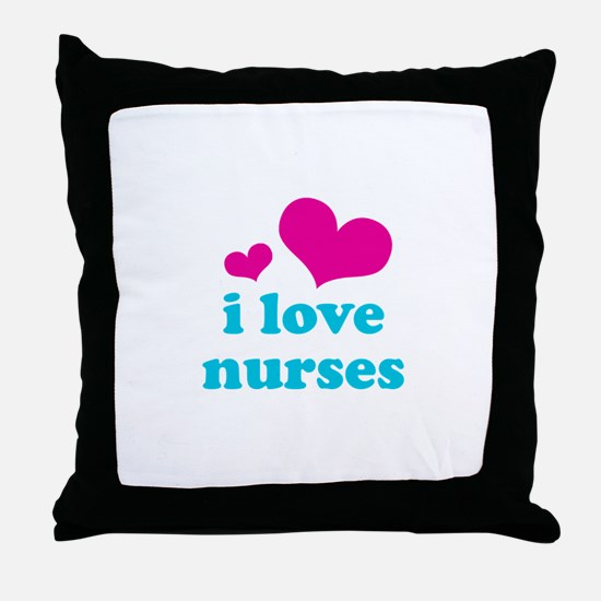 i love nurses (pink/blue) Throw Pillow