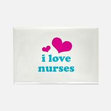 i love nurses (pink/blue) Rectangle Magnet (100 pa