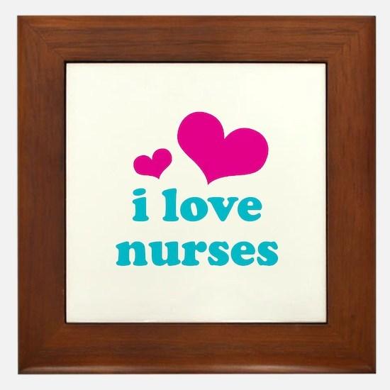 i love nurses (pink/blue) Framed Tile
