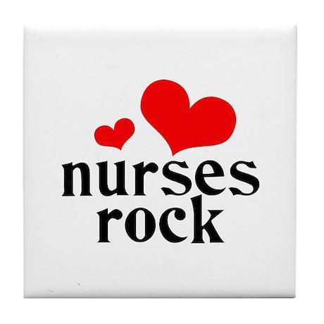 nurses rock (red/black) Tile Coaster